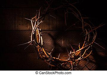 un, corona de espinas, en, un, de madera, fondo., pascua, tema