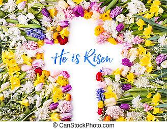 un, cruz, en, un, colorido, flor, fondo., pascua, plano, lay.