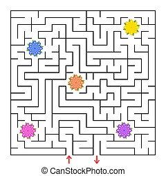 un, cuadrado, labyrinth., recoger, todos, el, flores, y, hallazgo, un, salida, de, el, maze., simple, plano, aislado, vector, illustration.