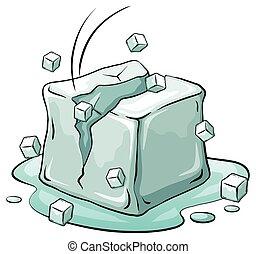 un, cubito de hielo