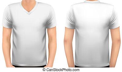 un, cuerpo masculino, con, un, camisa blanca, on., vector.