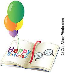 un, cumpleaños, saludo, con, globos