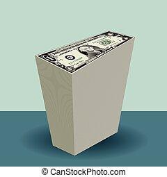 un dólar, cuentas, pila