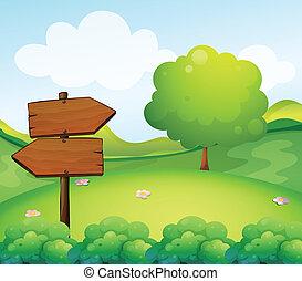 un, de madera, flecha, tabla, en, el, colina