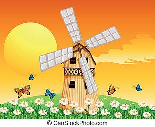 un, de madera, molino de viento, en, el, jardín