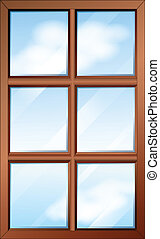 un, de madera, ventana, con, glasspanes