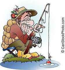 un, decepcionado, pescador de caña