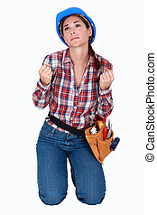 un, desesperado, hembra, construcción, worker.
