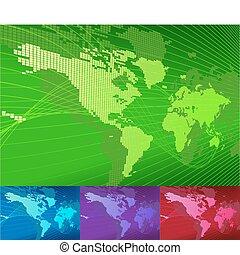 un, dinámico, 3d, mapa del mundo, con, fondo.
