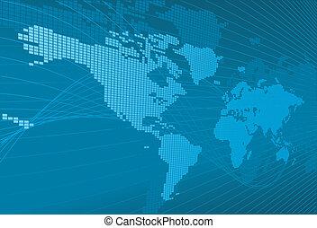 un, dinámico, 3d, mapa del mundo, con, plano de fondo