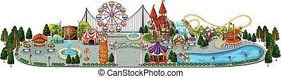 un, diversión, parque de atracciones, mapa