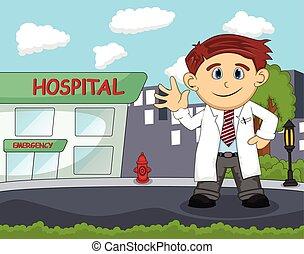 un, doctor, delante de, hospital