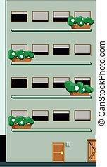 un, edificio, de, 4, pisos, con, arbustos, en, el, front.