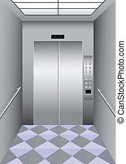 un, edificio, elevador