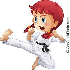 un, energético, niña, hacer, karate