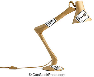 un, enrolló, anglepoise, lámpara, listo, para, movimiento de la oficina, aislado, en, un, fondo blanco, con, frágil, pegatinas