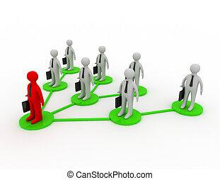 un, equipo negocio, con, líder