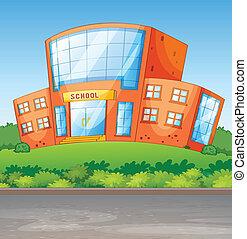 un, escuela, edificio