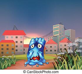un, espantado, monstruo, cerca, el, alto, edificios