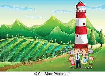 un, familia , en, el, granja, con, un, alto, torre