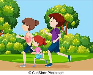 un, familia , jogging, en el parque