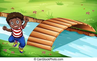 un, feliz, negro, niño, cerca, el, puente de madera