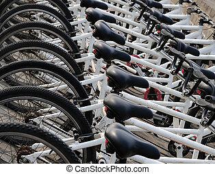 un, fila, de, bicycles