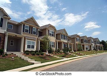 un, fila, de, nuevo, townhomes, o, condominios