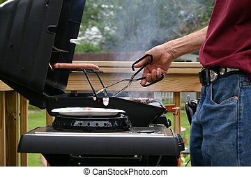un, fin de semana, barbecue.