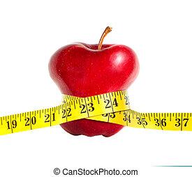 un, flaco, manzana, con, un, cinta medición