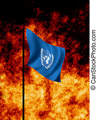 UN Flag - United Nations flag flies in Wartime