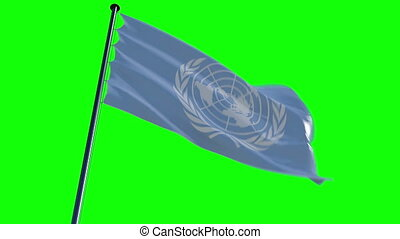 UN Flag with greenscreen and alpha