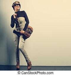 un, foto, de, sexual, hermoso, niña, es, en, moda, estilo