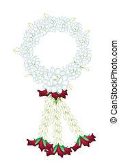 un, fresco, blanco, colores, de, jazmín, flores, guirnalda