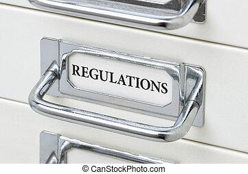 un, gabinete cajón, con, el, etiqueta, regulaciones