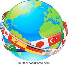 un, globo de la tierra, con, banderas, de, countri