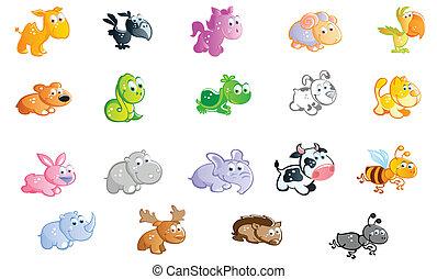 un, grande, conjunto, de, animales bebé, caricatura