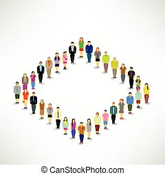 un, grande, grupo de las personas, frunce
