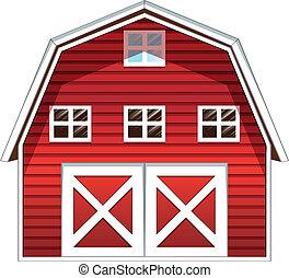 un, granero rojo, casa