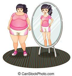 un, grasa, niña, y, ella, delgado, versión, en, el, espejo