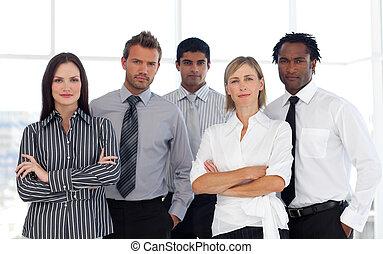 un, grupo, de, confiado, empresarios