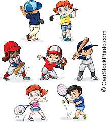 un, grupo de las personas, atractivo, en, diferente, deportes