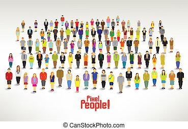 un, grupo grande personas, frunce, vector, diseño