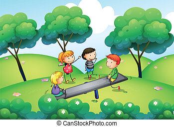 un, grupo niños, juego, en la cima de, el, colina