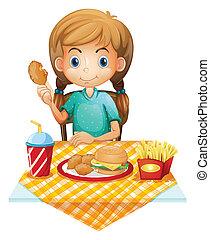 un, hambriento, niña joven, comida