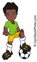un happy afro soccer player