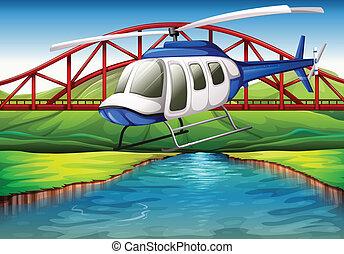 un, helicóptero, cerca, el, puente