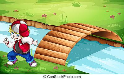 un, hiphop, bailarín, bailando, cerca, el, puente de madera