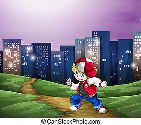 un, hiphop, bailarín, cerca, el, alto, edificios