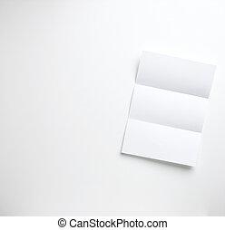 un, hoja, de, blanco, doblado, carta, papel, copyspace, en,...